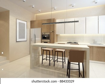 Wood kitchen with granite island