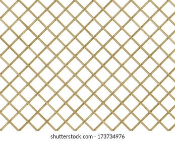 wood lattice of diagonal planking with clipping path