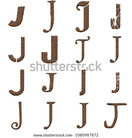 Wood Letter J Set Multiple Various Stock Illustration 1080987872