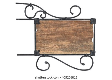 wood medieval sign with metal frame isolated 3D illustration