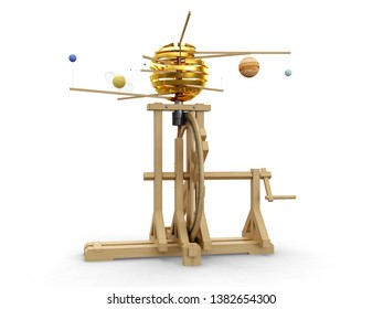 Wood model of solar system, 3D model