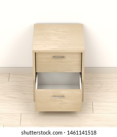 Wood nightstand with open drawer, 3D illustration