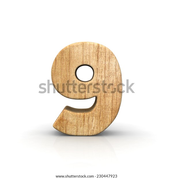 Wood number nine front view