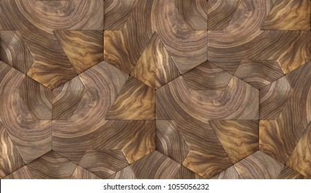 Wood nut design hexagon 3d panels. Material wood nut. High quality seamless realistic texture.