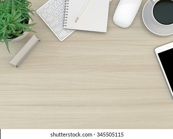 Wood office desk table with computer, smartphone, supplies and coffee cup. Top view with copy space