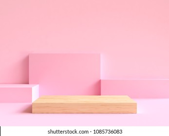 wood on floor minimal abstract geometric scene 3d rendering