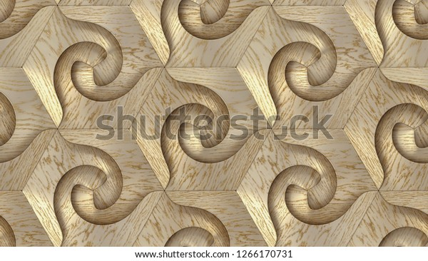 Wood Panels Tinted White Lacquer Hexagon Stock Illustration