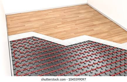 wood parquet and heater floor system 3d rendering image