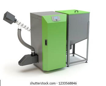 Wood Pellet Boilers, 3D illustration