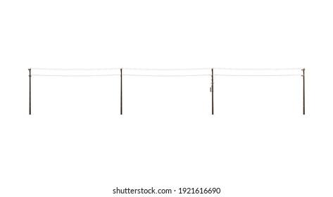 Wood Power Lines 3D illustration on white background