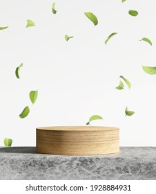 Wood product display podium. Falling green leaves on white background. 3d rendering