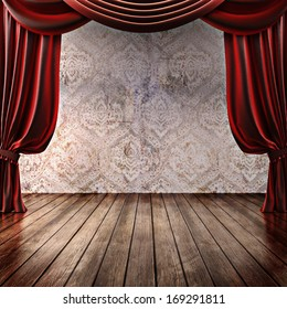 Wood stage background with theatrical curtains ,advertisement, music,comedy or performing arts concept with room for text or copy space advertisement. Part of a stage concept series