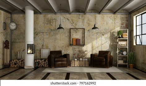 Wood stove in grunge a living room with two leather armchair - 3d rendering