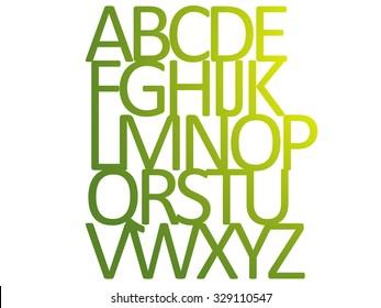 Wood Style silhouette alphabet ABCDEFGHIJKLMNOPQRSTUVWXYZ