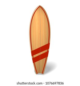 wood surf board Summer Surfing Isolated realistic surfboard.