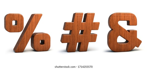 Wood symbol %, #, &, 3d wooden font isolated on white background