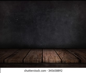 Wood table and  black wall background