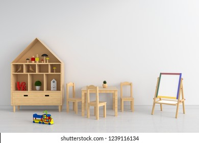 Wood table and chair in white child room for mockup, 3D rendering