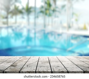 wood Table  Top Background and Pool