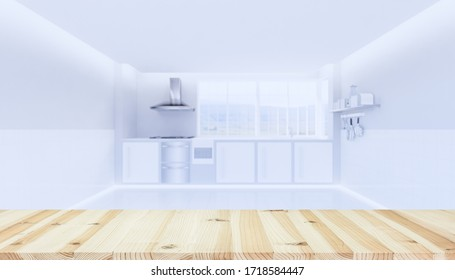 Wood table top and kitchen blur for food product display background. Copy or empty space with wood counter top and blur part of cooker hood, gas stove, sink and natural light from window. 3d render.