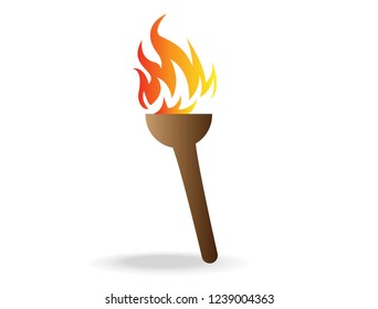 The wood torch is on
