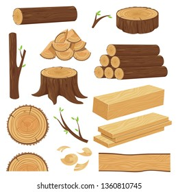 Wood trunks. Stacked lumber material, trunk twig and firewood logging twigs. Tree stump, old wooden plank or timber log for campfire. Cracked trunks isolated cartoon  icons set
