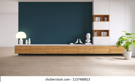 wood TV cabinet  with plant on wood flooring and dark green wall, loft and vintage interior of living room, 3d illustration