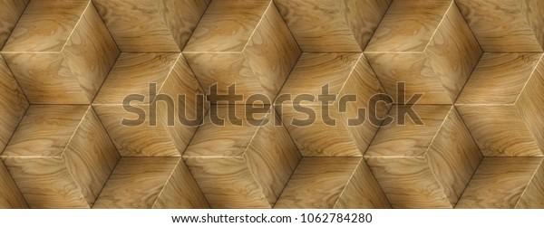 Wood Veneer Boxes Design Hexagon 3d Stock Illustration