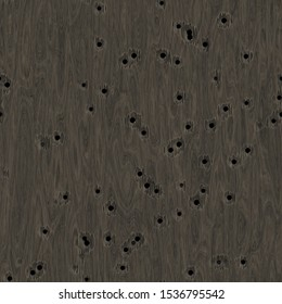wood veneer with many holes from bullets, grey color, seamless background of high resolution