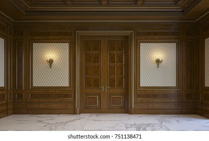 3d wood wall panels designer wood wall panels in classical style with gilding and door 3d rendering beige wall panels classical style gilding stock illustration