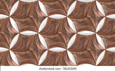 Wood walnut 3d tiles texture with white plastic elements. Material wood oak. High quality seamless realistic texture. For wall, web, floor, auto vinil.