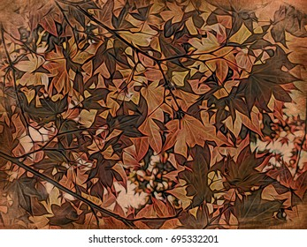 Woodblock Printing; Red Momiji Maple Leaves at the World Heritage Forest Kumano Kodo, Wakayama Prefecture, Japan