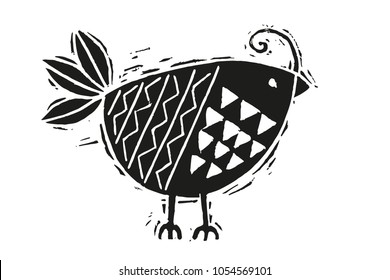 Woodcut bird illustration