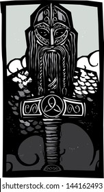 Woodcut style image of the Norse God Thor with his hammer against the sky.
