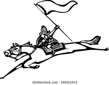 Woodcut style image of a Norse Valkyrie riding a horse and holding a flag.