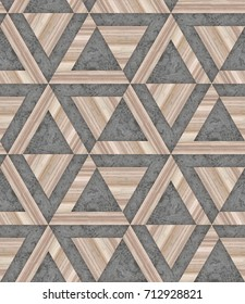 Wooden 3d texture, grey color and grey concrete seamless pattern , angular graphic, 3d illustration background image