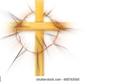 Wooden abstract cross with a crown of thorns on a white background. Lent, Easter, Holy Week, Passion symbol, with copy space for text.