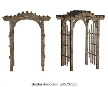 wooden arbor, isolated on white