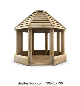 Wooden arbour isolated on white background. 3d illustration. wooden gazebo.