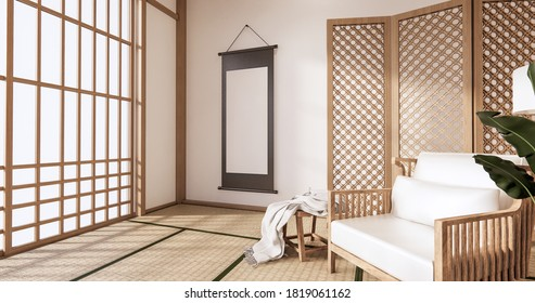 Wooden Arm chair and partition japanese on room tropical interior with tatami mat floor and white wall.3D rendering
