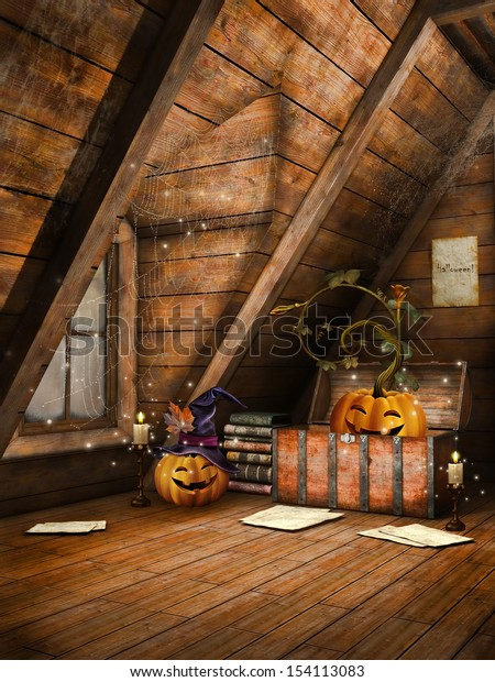 Wooden attic with Halloween pumpkins, candles and books