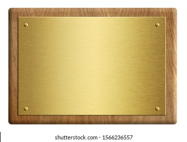 Wooden award plaque with gold plate 3d illustration isolated on white