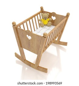 wooden baby cradle with bear toy isolated on white background