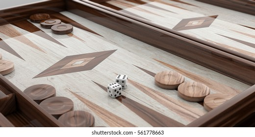 Wooden backgammon board, chips and dice background closeup. 3d illustration
