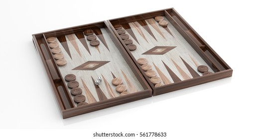 Wooden backgammon board isolated on white background. 3d illustration