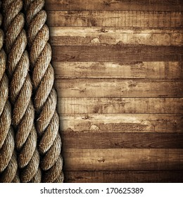 wooden background with rope