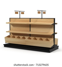 Wooden Bakery Display Shelves on white. 3D illustration