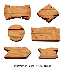 Wooden banners. Empty sign boards for advertising blank cartoon wooden texture template