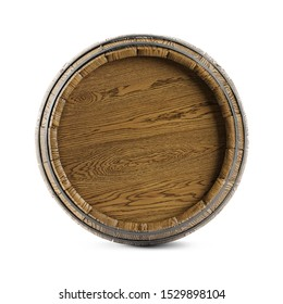 Wooden barrel isolated on white background. Clipping path included. 3d illustration
