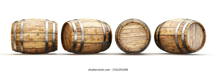 wooden barrel isolated on a white. 3d illustration